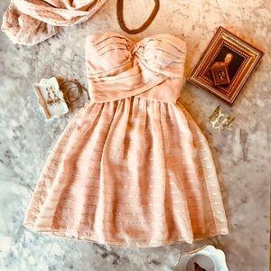 Peach Parfait Silk Strapless Dress